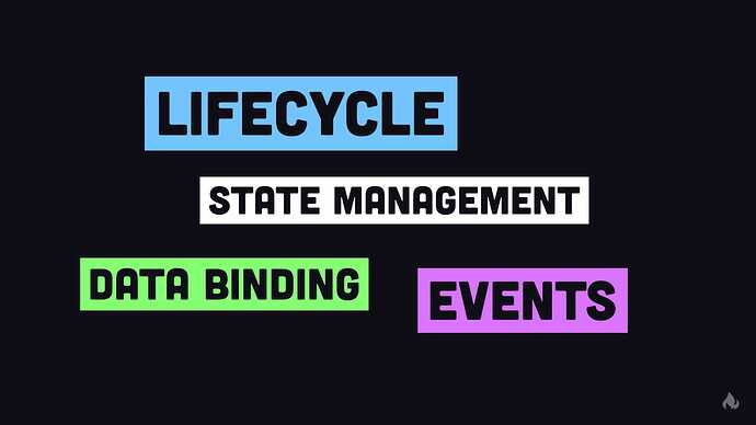 state management, data binding, events and life cycle