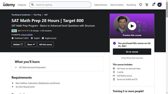 SAT Math Prep 28 Hours - Target 800